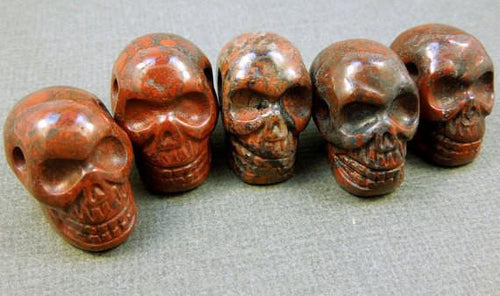 Beads - Skull Bead--Red Brecciated Jasper Skull Bead