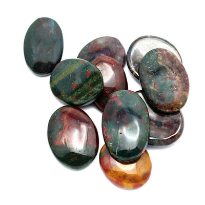 Blood Stone Worry Stone Slab - Thumb Stone - Palm Stone - Metaphysical - Chakra - (RK46B5b-02)