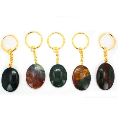 Bloodstone - Bloodstone Worry Stone Keychain - Gold Tone Keychain - Natural Blood Stone Keychain - Thumb Stone - Palm Stone - Metaphysical