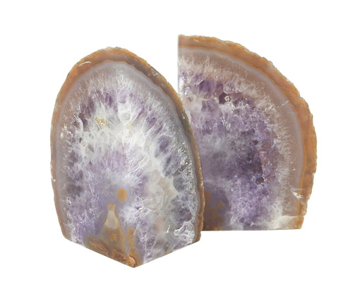 Bookends - Agate And Amethyst Book Ends - Amazing Amethyst In Agate Geode Bookend Rock Formation - Book End (HS-07)