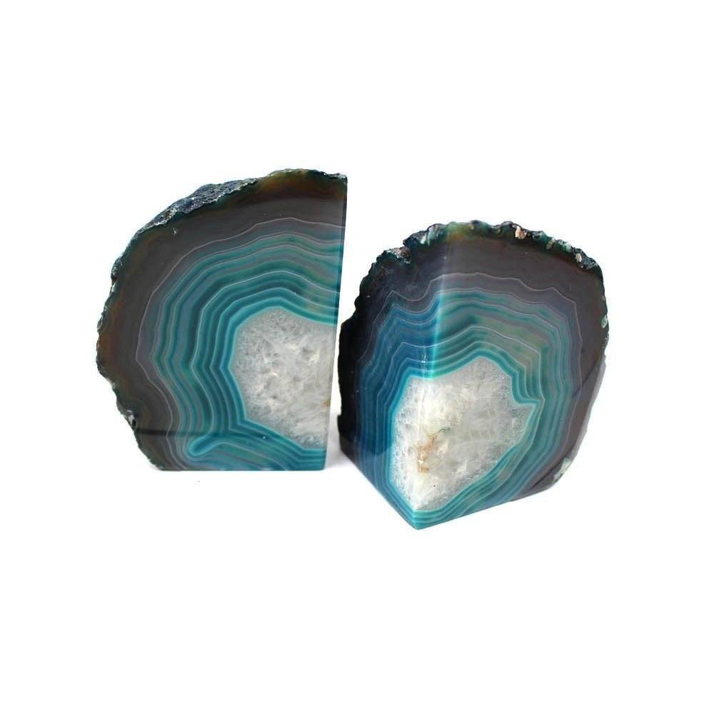 Bookends - Agate Book Ends Teal Agate Bookend Pair - 1 To 3 Lb - Geode Bookend - Home Decor - Crystal And Stones BKE