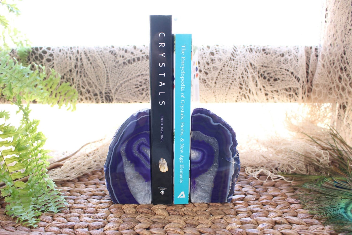 Bookends - Agate Bookends Purple Agate Bookend Pair - 1 To 3 Lb - Geode Bookend - Home Decor - Crystal And Stones BKE