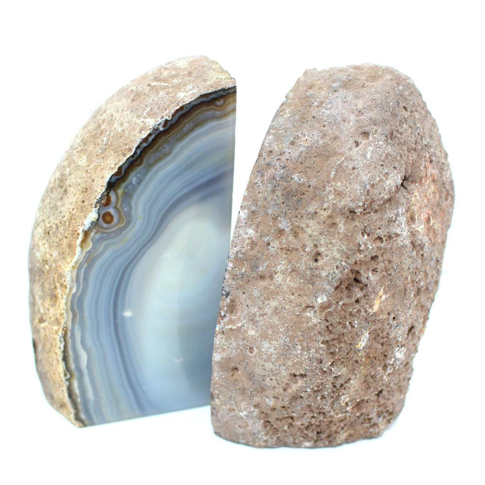 Bookends - Geode Book End Natural Agate Bookend Pair - 1 To 3 Lb - Geode Bookend - Home Decor - Crystal And Stones BKE