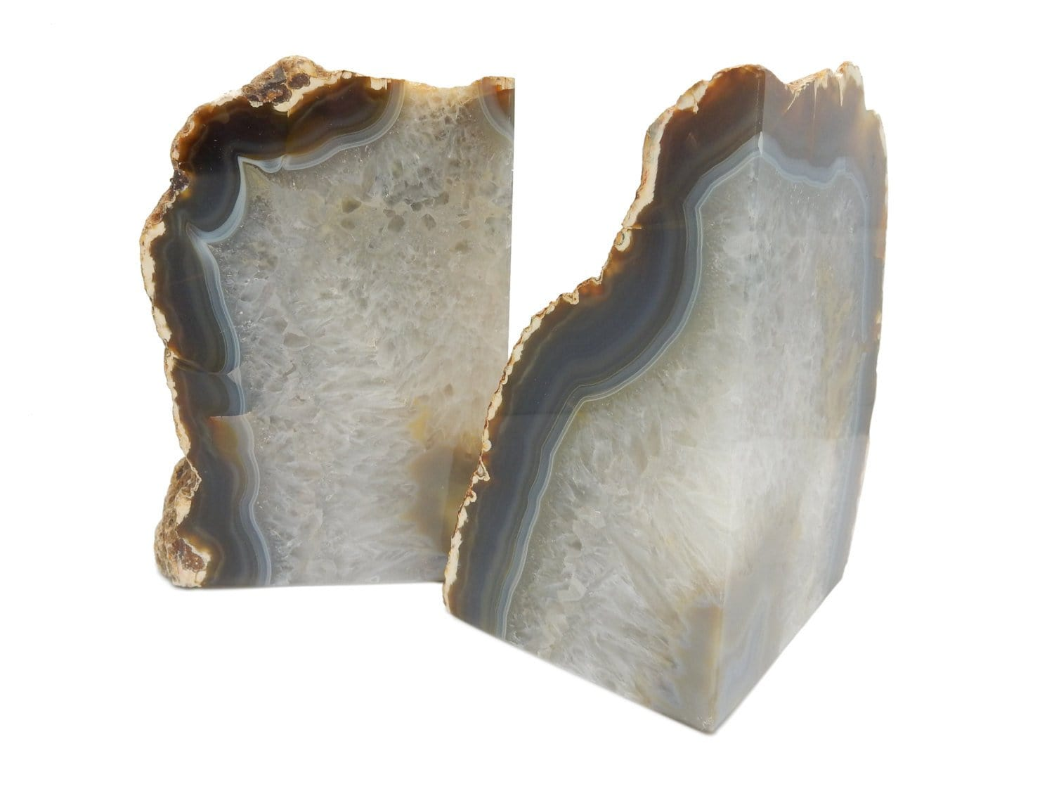 Bookends - Geode Bookends Natural Large Agate Geode Bookends -  Over 9 Lb Bookends - Perfect For Book Collections And Display
