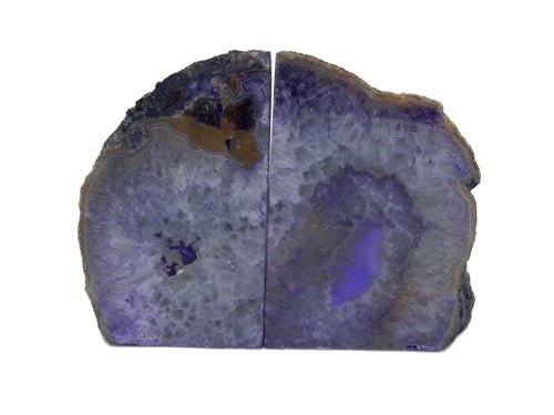 Bookends - Geode Bookends Purple Dyed Large Agate Geode Bookends-  Over 7 Lb Bookends - Perfect For Book Collections And Display