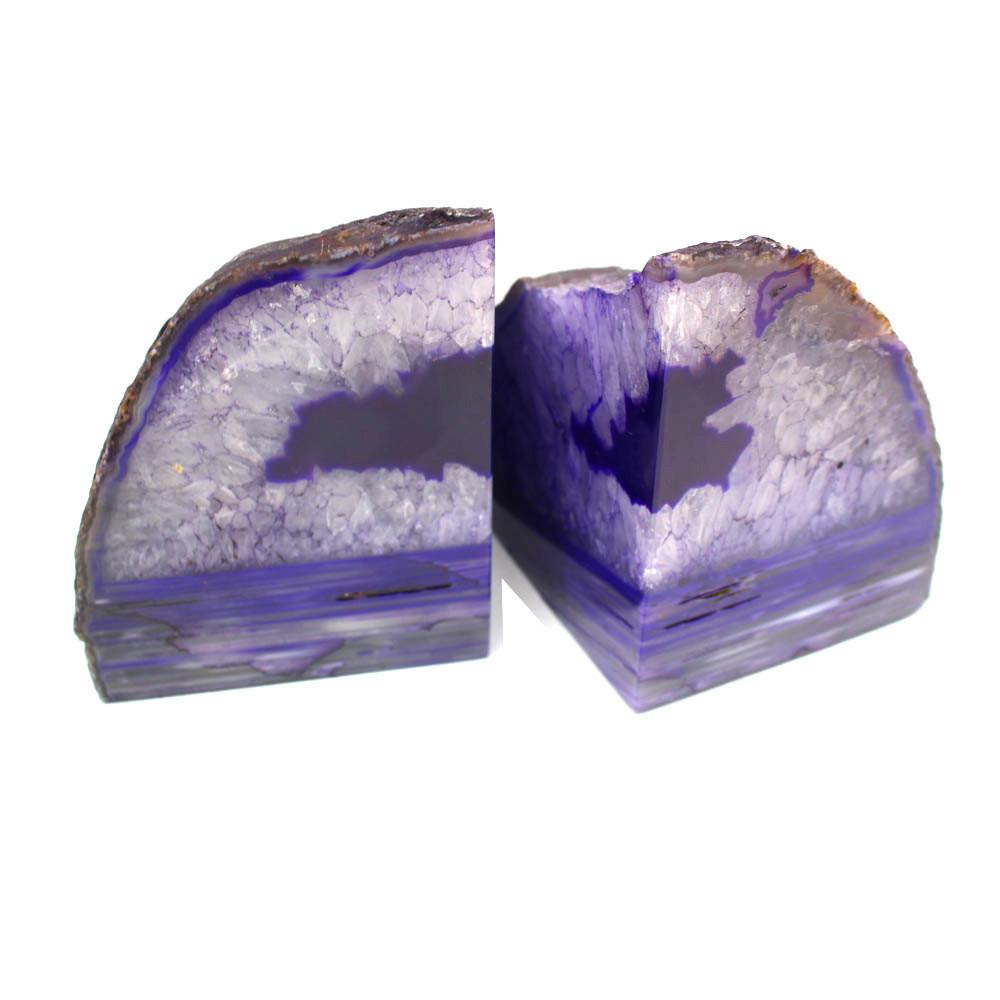 Bookends - Purple Agate Bookend Pair - 6 To 9 Lb - Geode Bookend - Home Decor - Crystal And Stones BKE