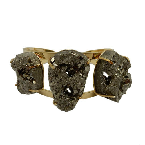 Bracelet - Oval Pyrite Chunk Bracelets With Electroplated Adjustbale Cuff (RK191B10) (RK191B11)