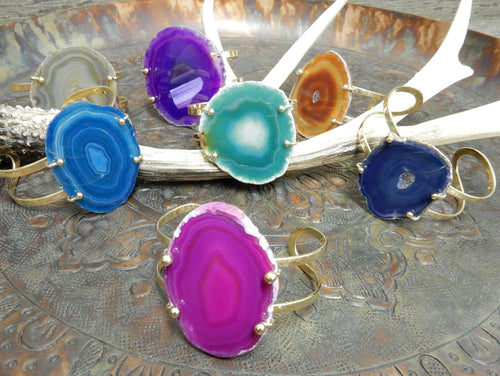 Bracelets - Agate Bracelet - Agate Slice On Electroplated 24k Gold Adjustable Bracelet Amazing Colors