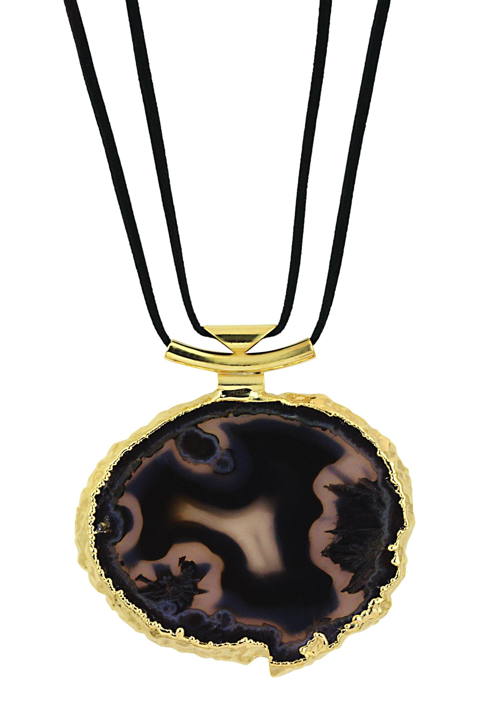 Bracelets - Agate Necklace With Black Leather Cord In Silver Or 24k Gold Electroplated - (RK191)