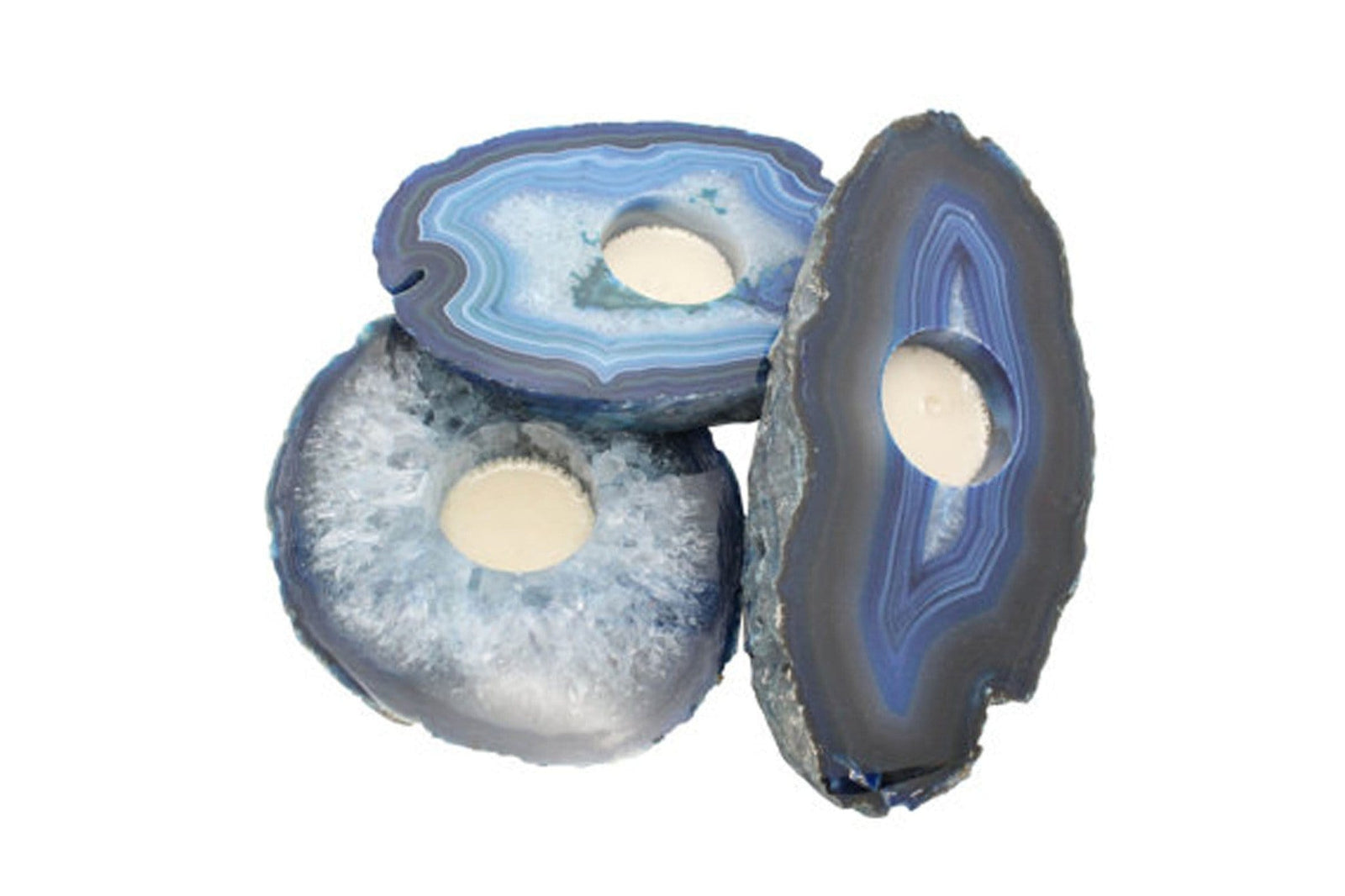 Candle Holders - Agate Slab Candle Holder - Blue