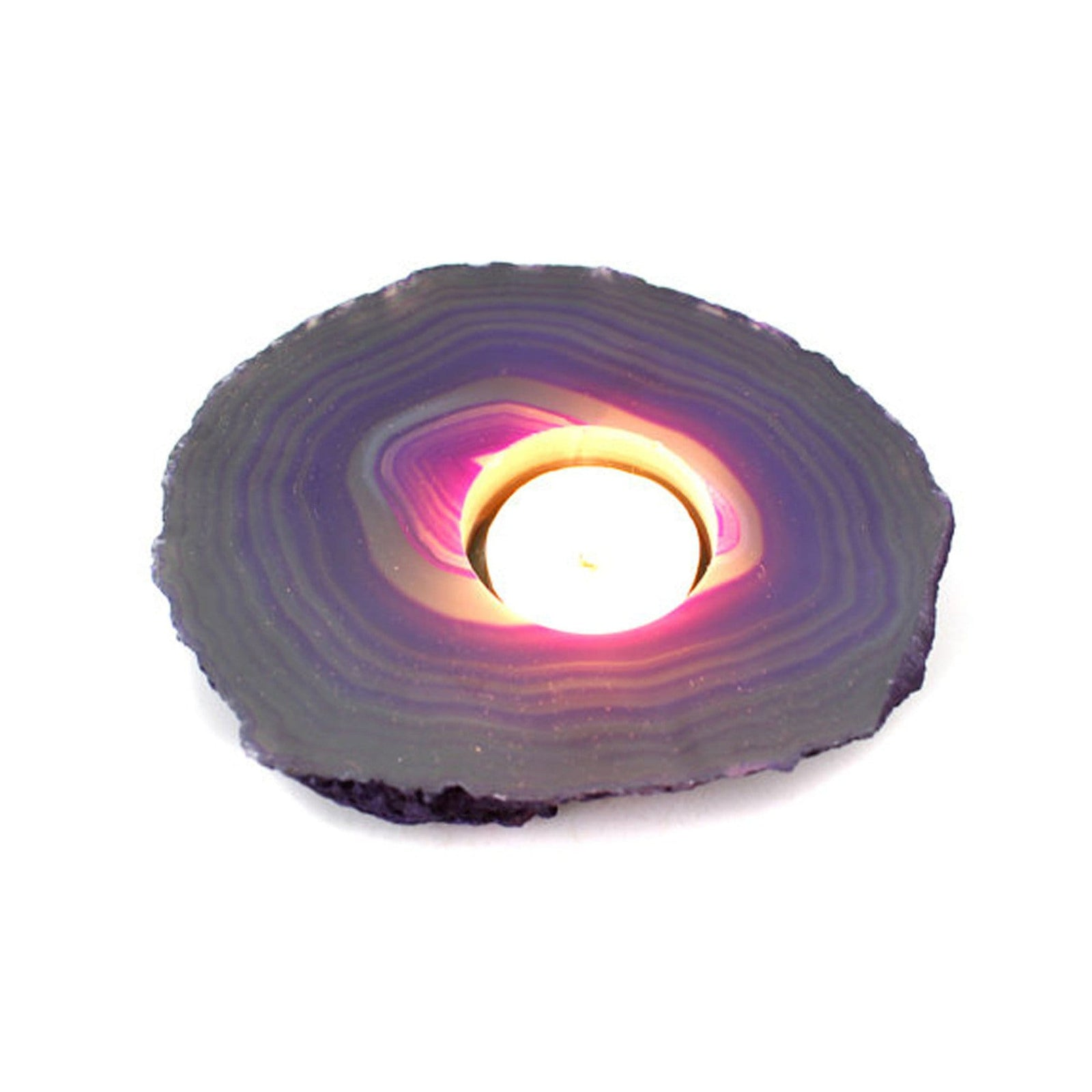 Candle Holders - Agate Slab Candle Holder - Purple