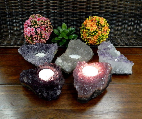 Candle Holders - Amethyst Cluster Candle Holder Small Size- Crystal Decor - Metaphysical - Chakra Crystals (RK171B1)