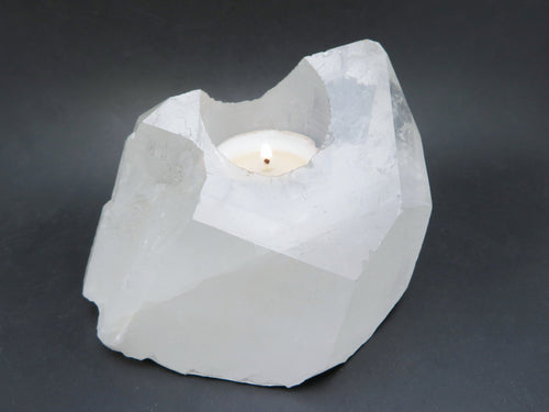 Candle Holders - Crystal Quartz Point Candle Holder - Amazing Quartz Point Tea Light - (CHS5-04)