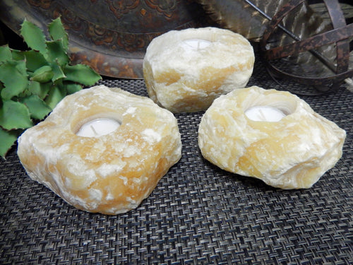 Candle Holders - Mexican Orange Calcite Candle Holder - Amazing Orange Calcite Candle Tea Light - Gypsy Decor - Feng Shui - Crystal Collection (CHS5-02)