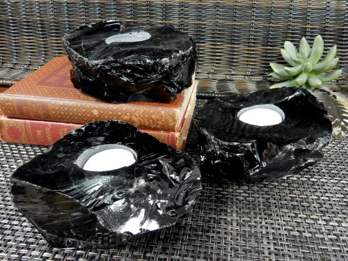 Candle Holders - Obsidian Candle Holder - Black Stone Votive Tea Light - Gipsy Decor - Feng Shui - Crystal Collection (CHS4-07)