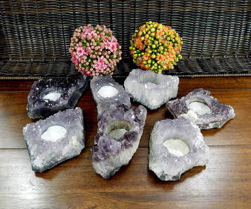 Candle Holders - Small Amethyst Cluster Candle Holder - Crystal Decor - Metaphysical - Chakra Crystals (RK178B2)