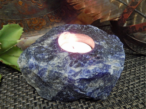 Candle Holders - Sodalite Candle Holder - Amazing Candle Tea Light - Gipsy Decor - Feng Shui - Crystal Collection