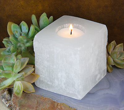 Candle Holders - Square Shaped Selenite Candle Holder (CHS4-05)