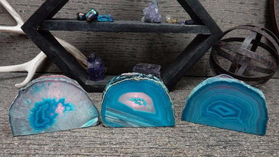 Candle Holders - Teal Agate Candle Holder - Crystal Decor- Metaphysical - Chakra Crystals (HW4-07)