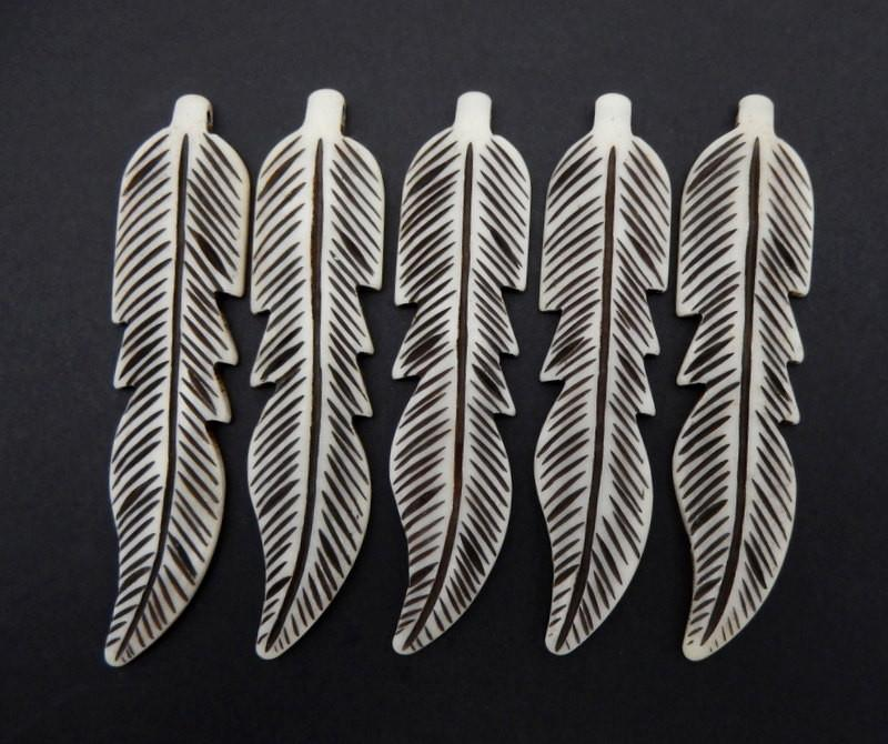Carved Bone Feather Top Side Drilled Bead (RK22B3-08)