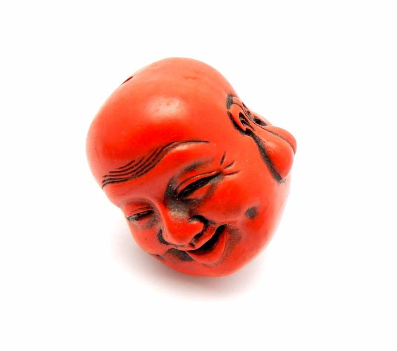 Carved Cinnabar Buddah Head Large Bead-- (RK7B13-05)