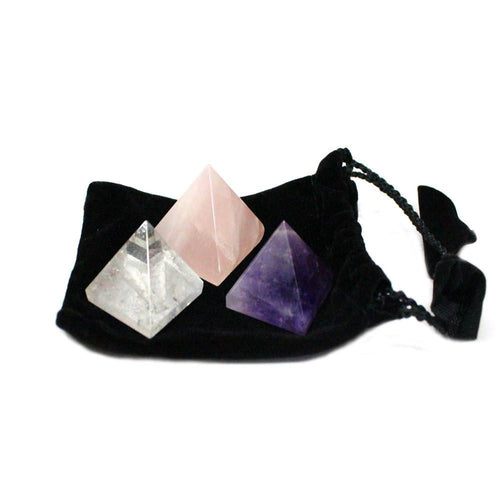 Chakra - 3pc Pyramid Chakra Set In Black Velvet Bag - Pyramid Shaped Stones - Rose Quartz - Crystal Quartz - Amethyst - BR-09