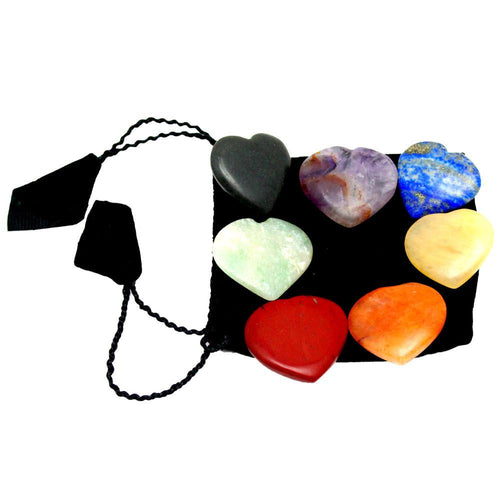Chakra - Chakra Stones -- Heart Shaped Chakra Stone - Chakra Heart Set - Metaphysical - Meditation - Intention - Wire Wrapping  (BR-06)