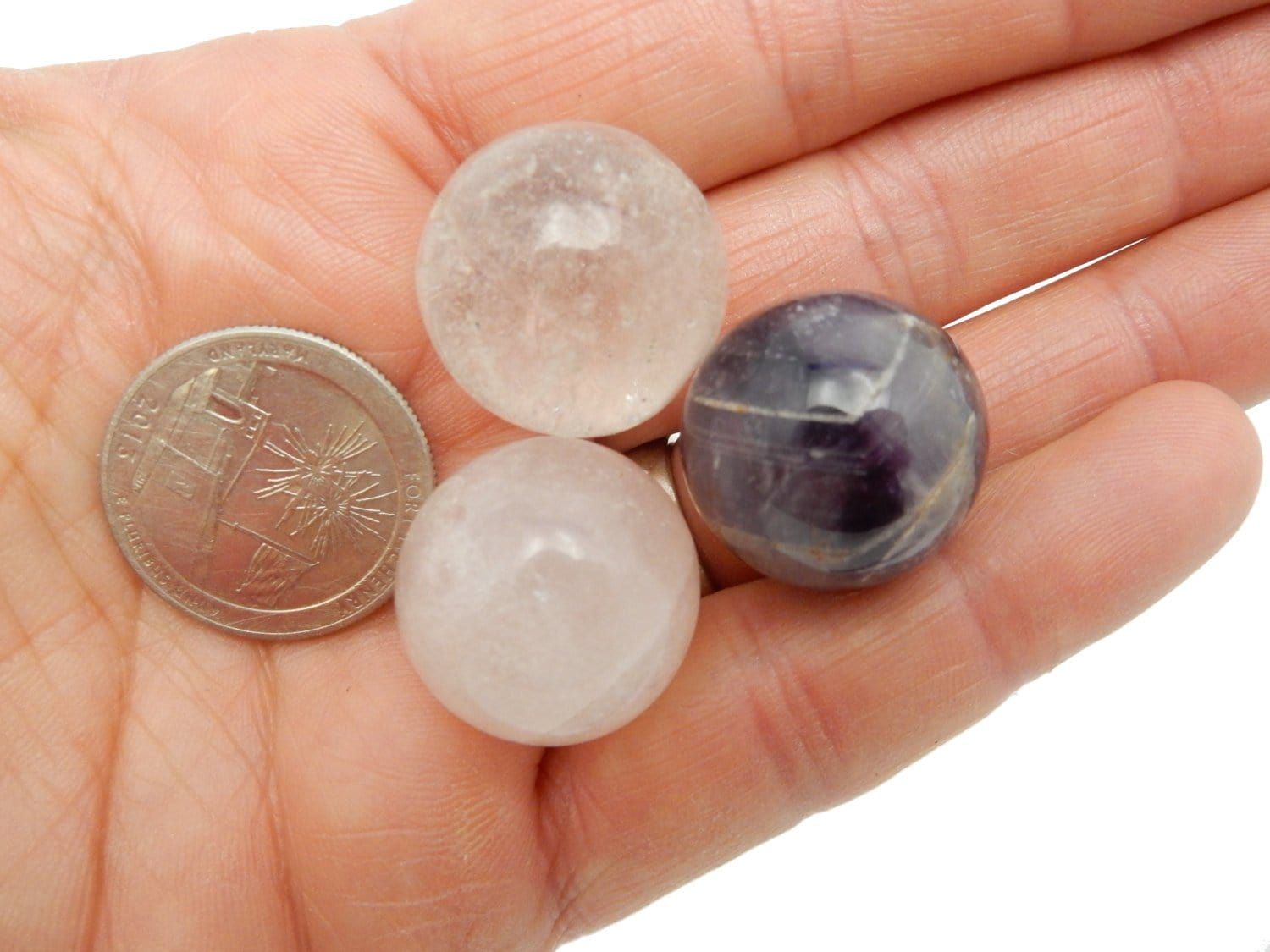 Chakra Set - 3 Piece Ball Chakra Set - Sphere Shaped Stones - Rose Quartz - Crystal Quartz - Amethyst - RK147B2
