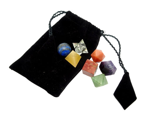 Chakra Set - 7 Chakra Geometric Shape Set Bag - Reiki - Metaphysical - Sacred Geometry - Stone Shapes (BR-20)