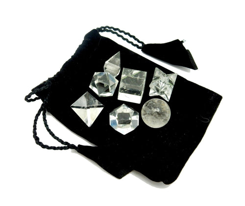 Chakra Set - Crystal Quartz Geometric Shape Set Bag - Reiki - Metaphysical - Sacred Geometry - Stone Shapes (BR-01)