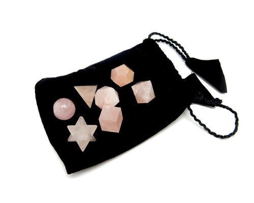 Chakra Set - Rose Quartz Geometric Shape Set Bag - Reiki - Metaphysical - Sacred Geometry - Stone Shapes (BR-02)