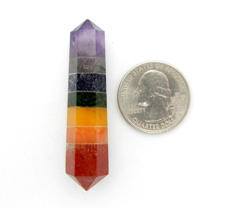 Chakra - Seven Chakra Double Terminated Point DRILLED - Wire Wrapping - Chakra - Reiki - Crystal Grids - Energy Balancing (RK32B1b)