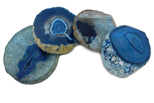 Coasters - Agate Coaster Blue - Thick Slab - Home Decor - Geode Decor - Geode Coasters - Stone Slab - Kitchen & Dining RK80-Blue