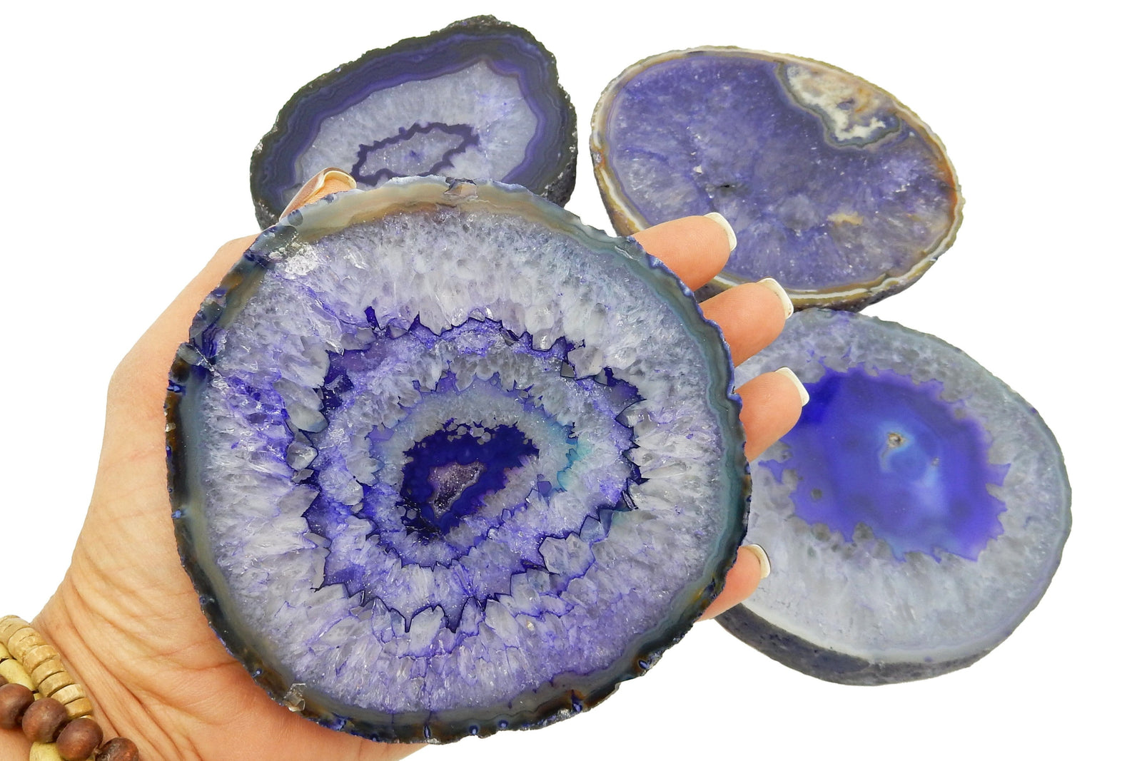 Coasters - Agate Slice - Coaster Size Purple Thick Slab - Home Decor - Geode Decor - Geode Coasters - RK80-Purple
