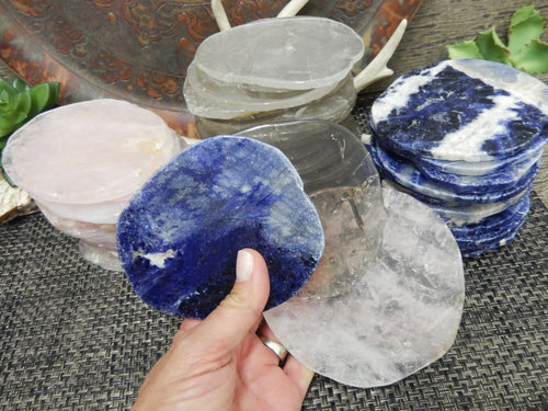 Coasters - Stone Slice - Coaster Size - YOU CHOOSE - Natural Stone Rose Quartz, Smokey Quartz, Sodalite, Coasters With Polished Edges - Choose Your Qty 1, 4, 6, 8 - Home Decor (OB9)