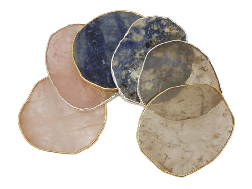 Coasters - Stone Slices - Coaster Size - Smokey Quartz, Rose Quartz, Sodalite, With Gold And Silver Electroplated Edges - YOU CHOOSE - Home Decor (OB9)