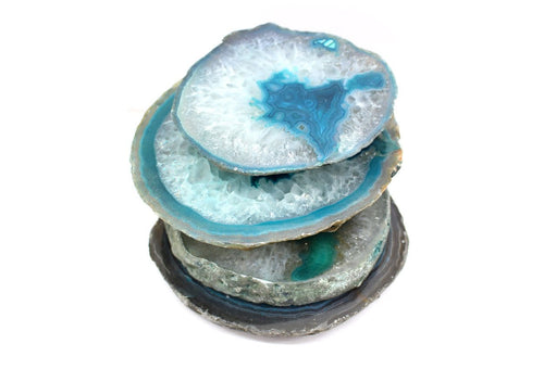 Coasters - Teal Agate Slice - Coaster Size Thick Slab - Home Decor - Geode Decor - Geode Coasters (RK80-teal)
