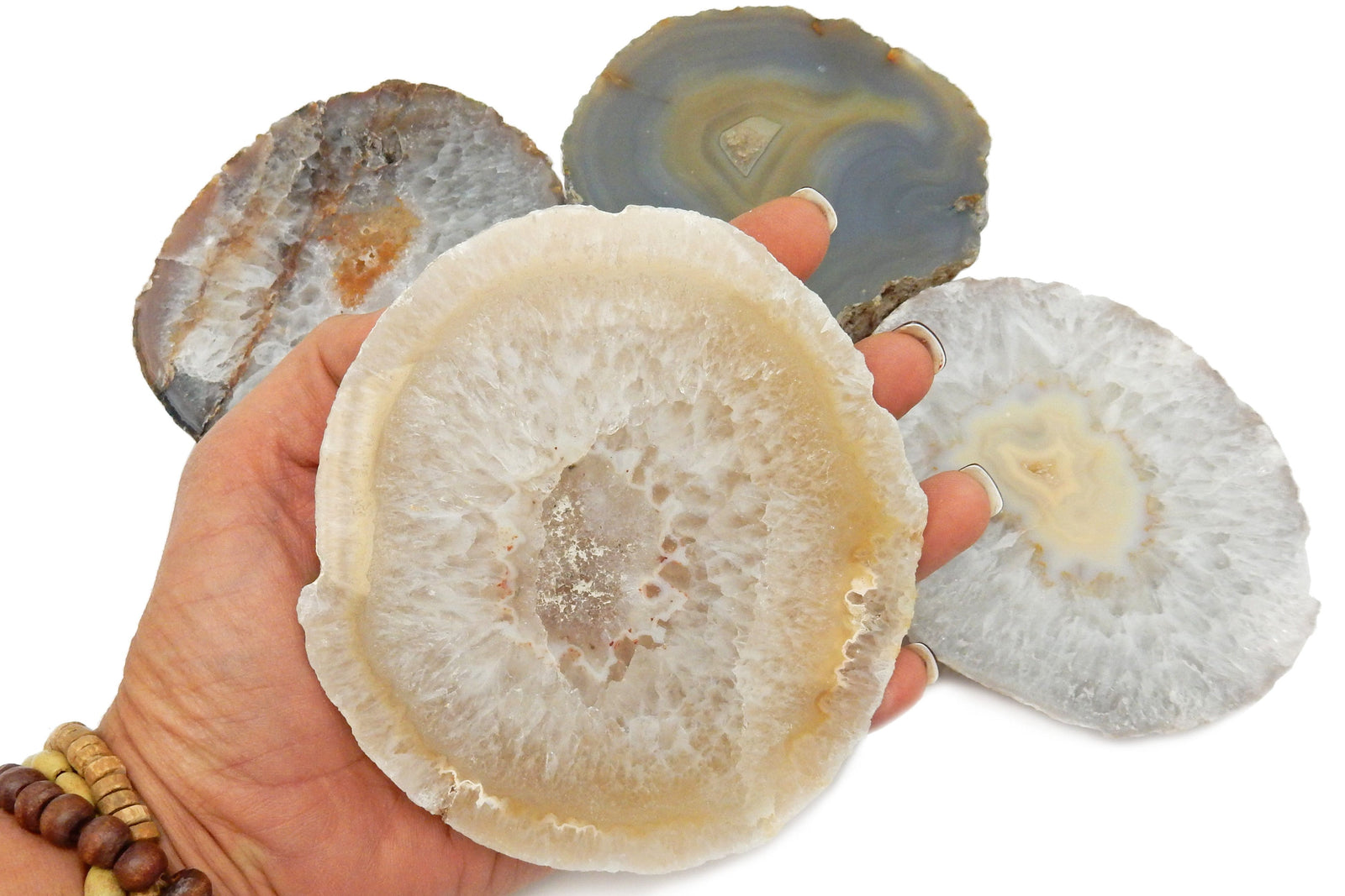 Coasters - Thick Agate Slice Slabs - Coaster Size - Agate Coaster Natural (RK80-Natural)