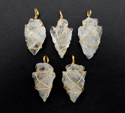Crystal Quartz Arrowhead Pendant Wire Wrapped Gold Tone Arrow Head Charm - Bulk Of 20- (RK40B1b)