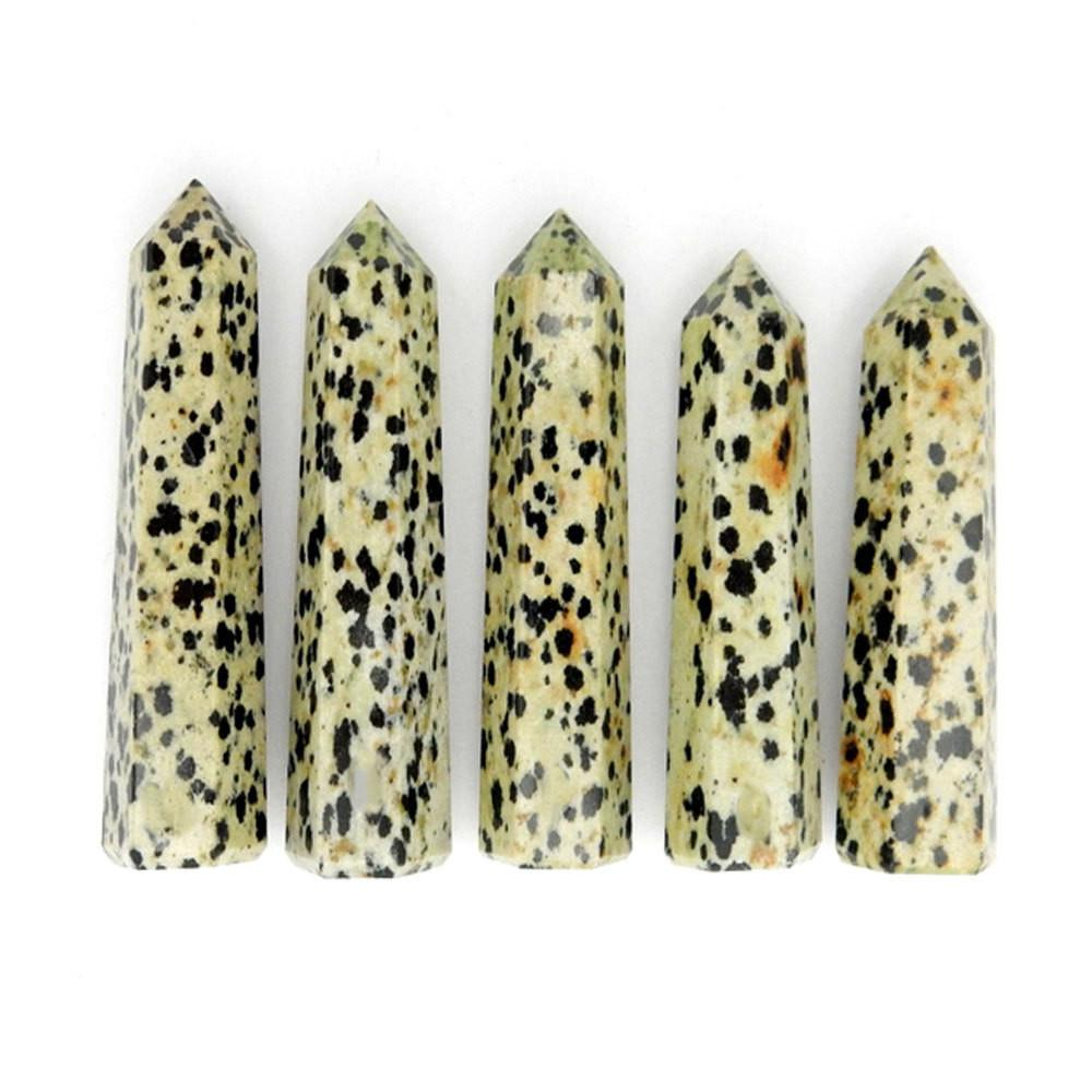 Dalmatian Jasper Crystal Tower Obelisk Point - Wire Wrapping - Chakra - Reiki - Crystal Grids - Energy Balancing (RK34B1b)