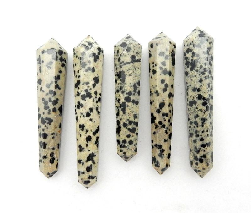 Double Terminated - Dalmatian Jasper Double Terminated Pencil Point Bead - Jasper Point Top Side Drilled Bead - (RK38B3)