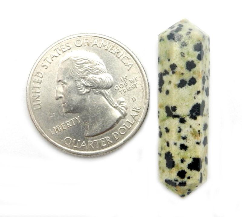 Double Terminated - Dalmatian Jasper Double Terminated Pencil Point - Metaphysical - Chakra - Crystal Grids - Wire Wrapping - Therapy Wand (RK38B6b-01)