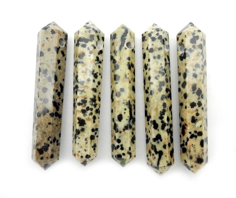 Double Terminated - Jasper Double Terminated Pencil Point Bead - Dalmatian Jasper Point Top Side Drilled Bead - (RK42B10)