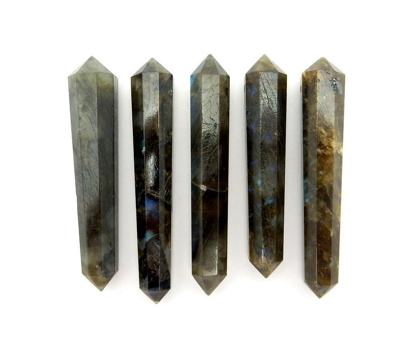 Double Terminated - Labradorite Double Terminated Pencil Point Bead - Labradorite Point Top Side Drilled Bead - Bulk Of 10 (RK38B6)