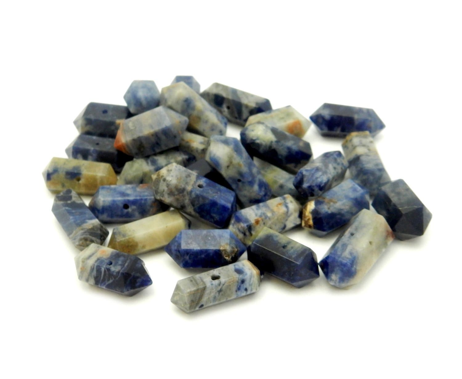 Double Terminated - Petite Sodalite Double Terminated Pencil Point Center Drilled Bead By 1, 5 Or 10 Pieces - Wire Wrapping - Chakra - Reiki(RK38B16-02)