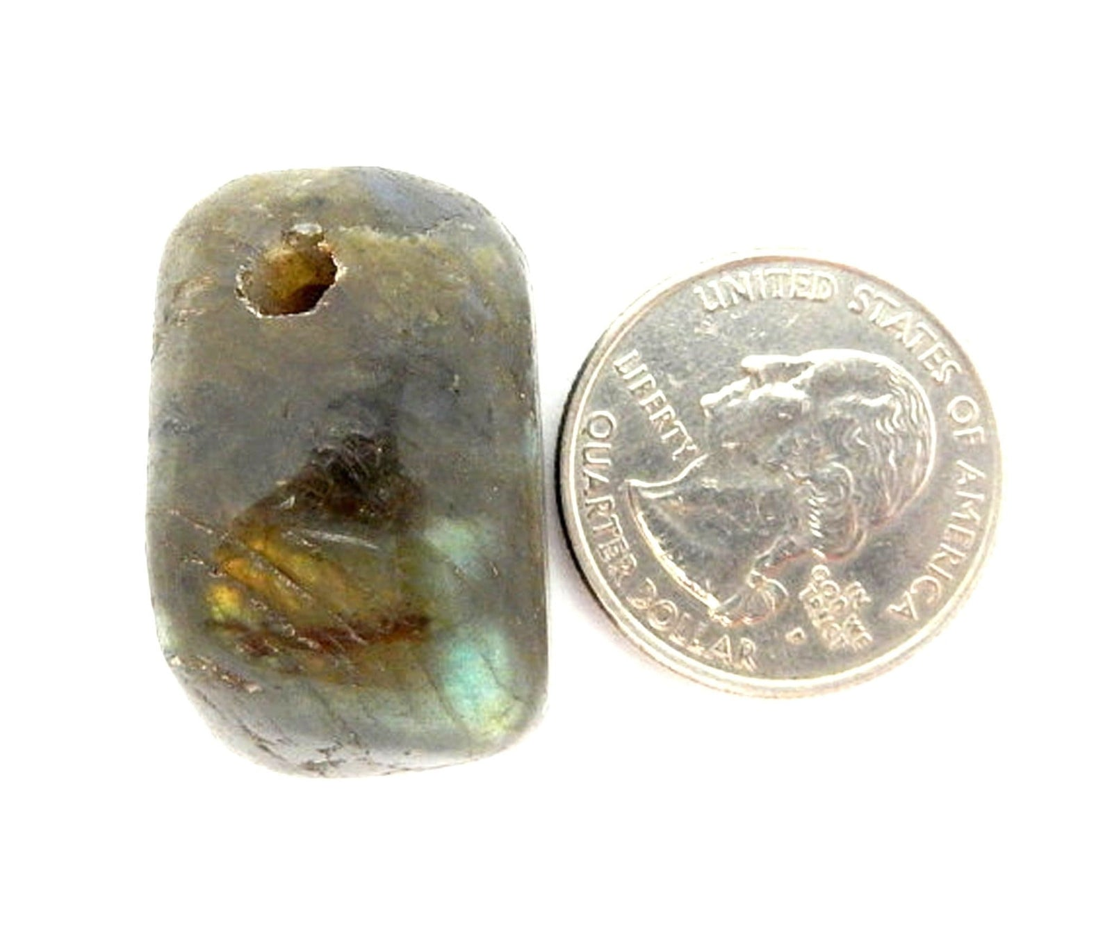 Drilled - Tumbled Labradorite - Drilled