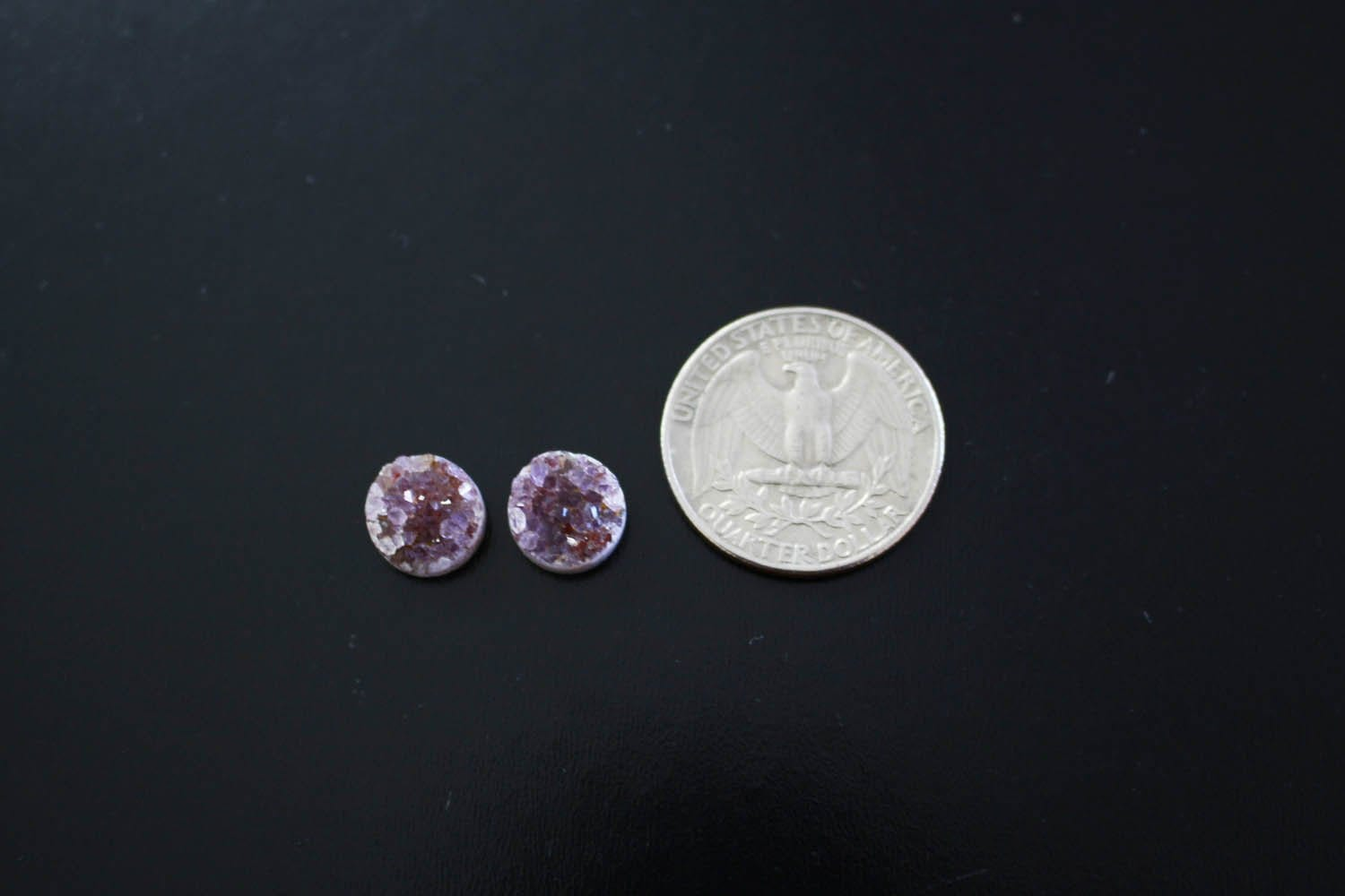 Druzy - 2 Pcs Natural Round Druzy Cabochon Pair - Round 10mm - Colorful Druzy Stone - Perfect For Jewelry Making (RK91B12-01)