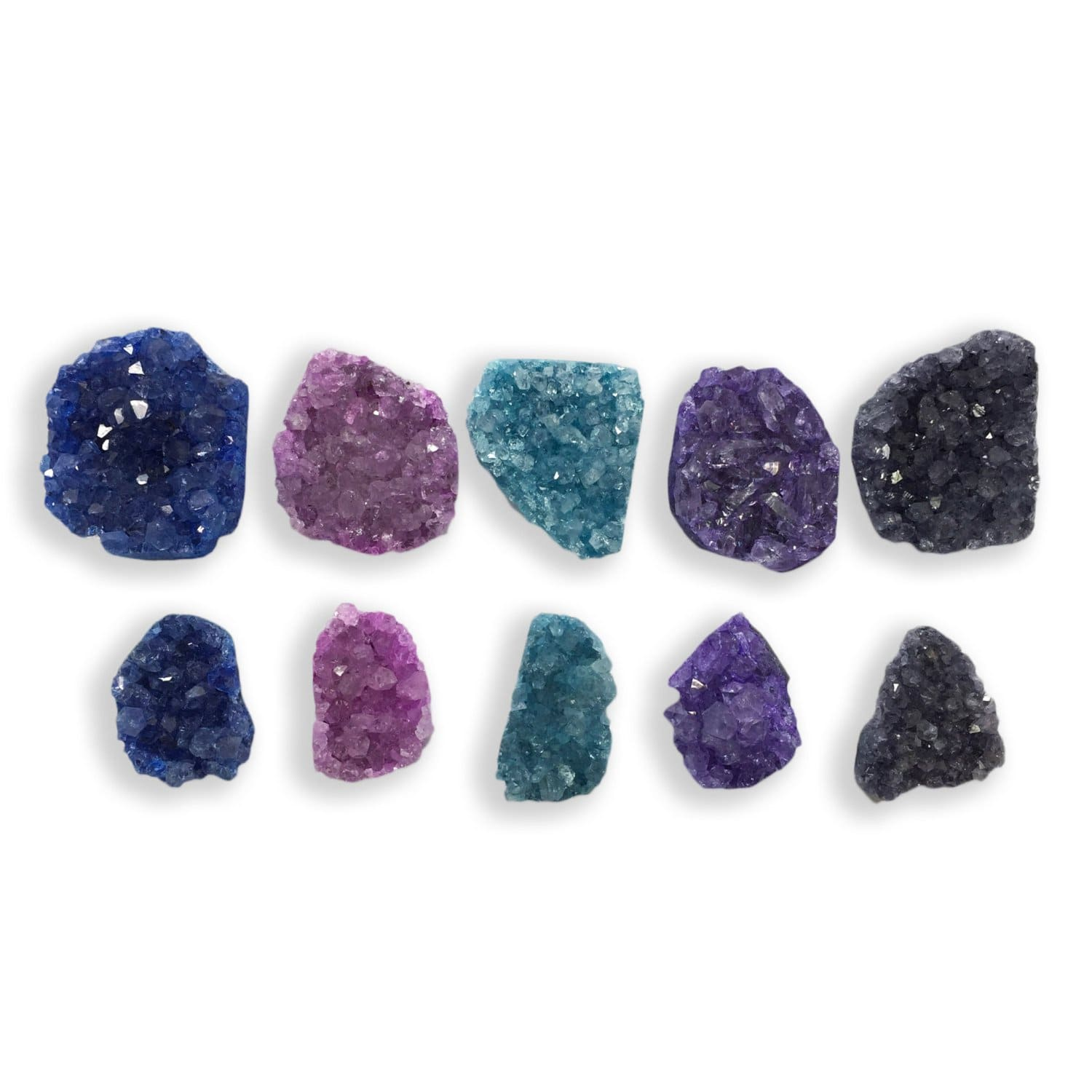 Druzy - 5 Pcs DRUZY Crystals - Mixed Colors -  Free Form - Set Of 5  - Medium Size - Pendant Setting - Crystal Decor (RK50B5)