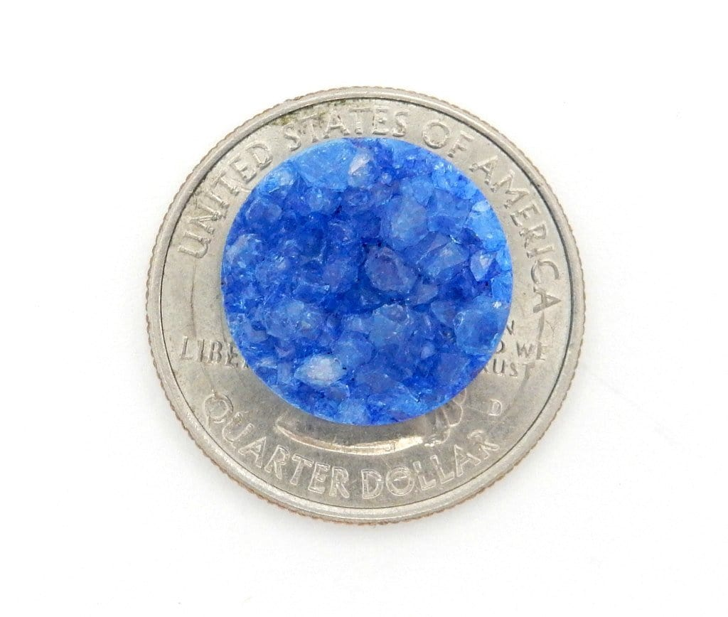 Druzy Cabochon - Blue Round Shaped Druzy Cabochon 16mm - Perfect For Jewelry Making (RK103B9-05)