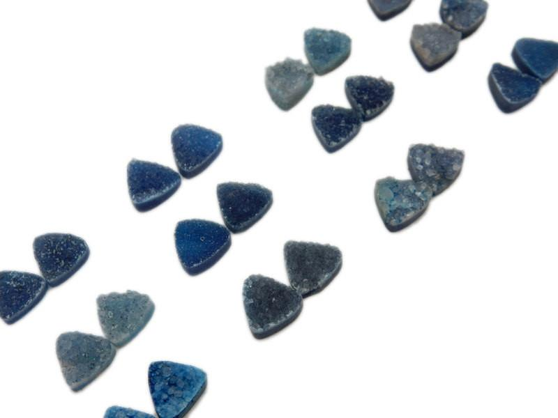 Druzy Cabochon - Blue Triangle Druzy Pair - Beautiful 10mm Triangle Shaped Druzy - Jewlery Supplies -  Druzy Stones
